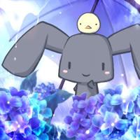 梅雨とうさぴよ(紫陽花)